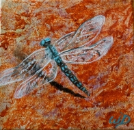 Dragonfly #4, Acrylic on Canvas, 6 x 6 inches, Copyright Wendie Donabie